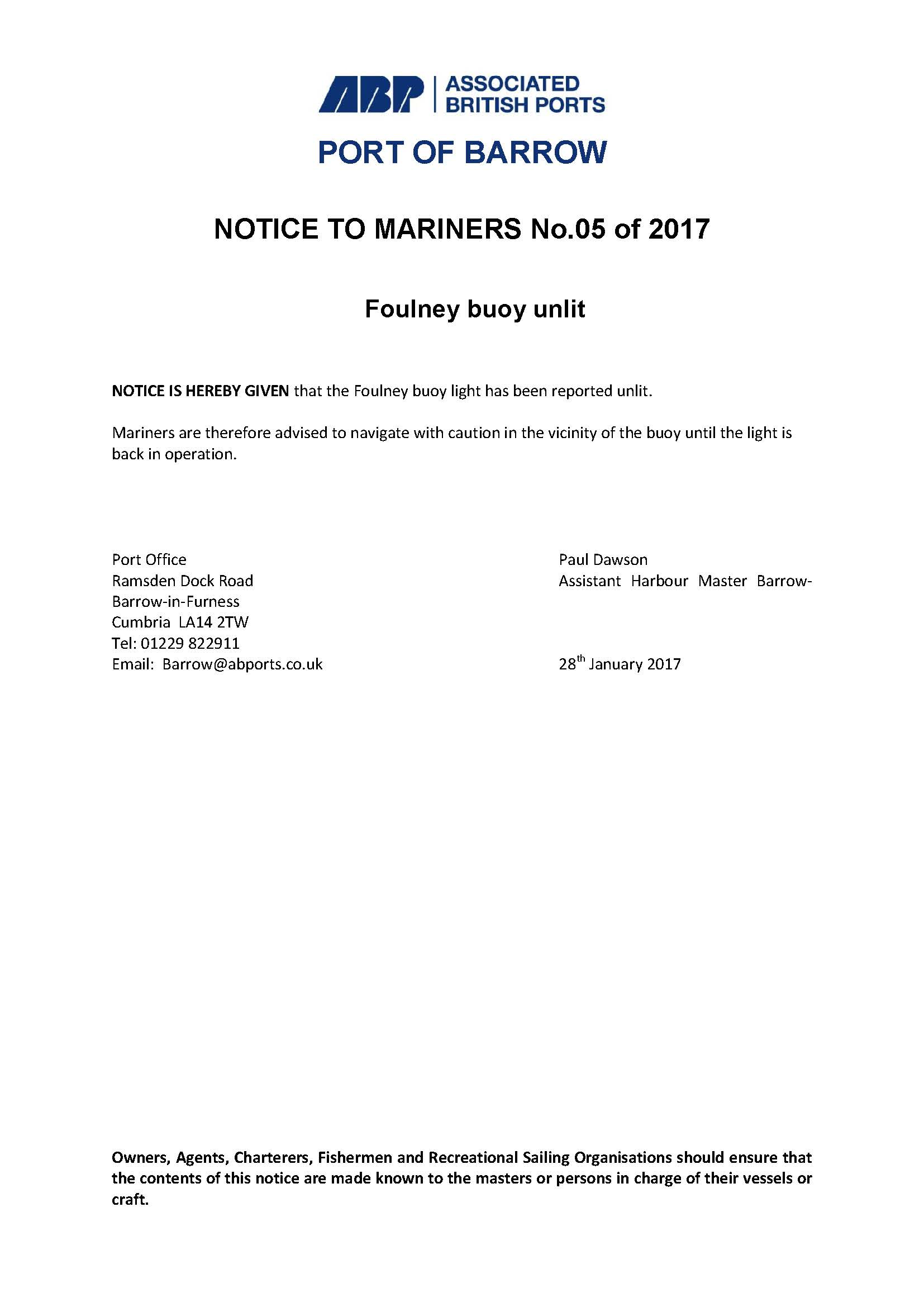 Notice to Mariners 5